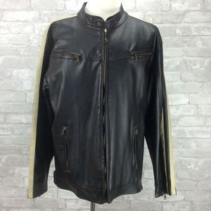 Vintage 80s Faux Leather Jacket Racing Stripe